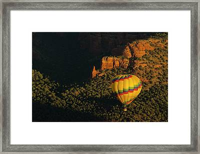 Hot Air Balloon, Red Rock, Coconino Framed Print by Michel Hersen