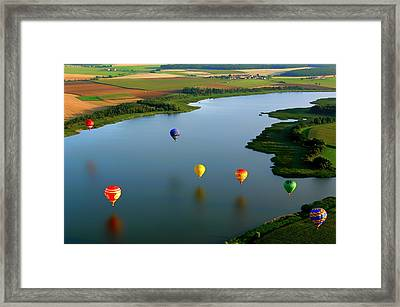 Hot Air Balloons Over France Framed Print by Mountain Dreams