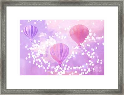 Surreal Dreamy Hot Air Balloons Lavender Purple Carnival Festival Art - Child Baby Girl Nursery Art Framed Print by Kathy Fornal