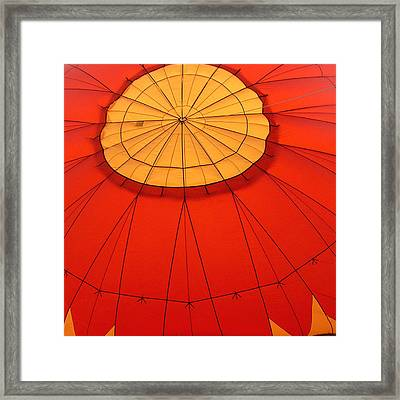 Hot Air Balloon At Dawn Framed Print by Art Block Collections