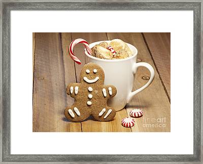 Hot Chocolate Toasted Marshmallows And A Gingerbread Cookie Framed Print by Juli Scalzi