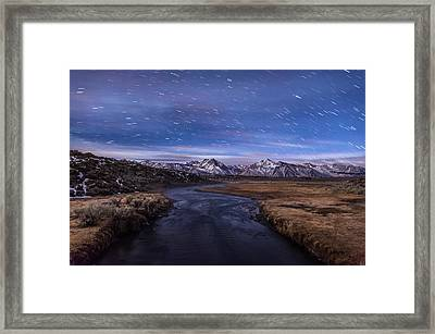 Hot Creek Star Trails Framed Print by Cat Connor