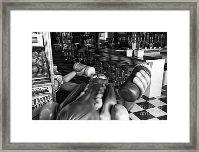 Hot Dog Man Down Mono Framed Print by John Rizzuto