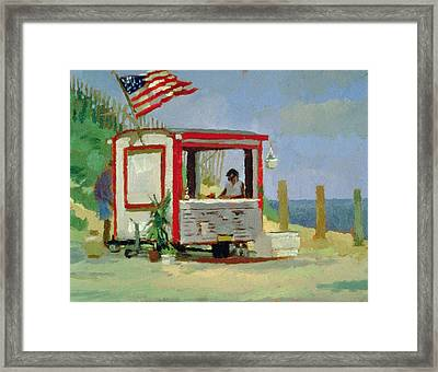Hot Dog Stand Oil On Canvas Framed Print by Sarah Butterfield