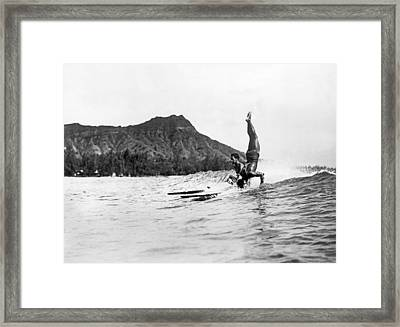 Hot Dog Surfers At Waikiki Framed Print by Underwood Archives