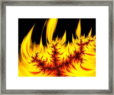 Hot Orange And Yellow Fractal Fire Framed Print by Matthias Hauser