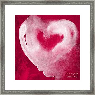 Hot Pink Heart Framed Print by Linda Woods