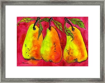 Hot Pink Three Pears Framed Print by Blenda Studio