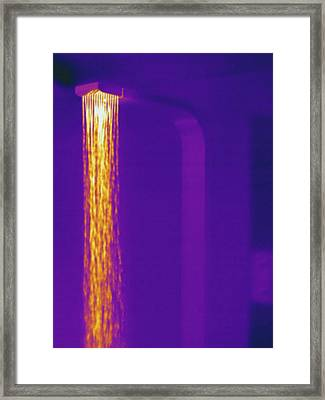 Hot Shower, Thermogram Framed Print by Science Stock Photography