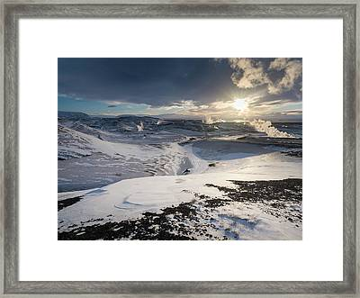 Hot Steam Rising From The Geothermal Framed Print by Martin Zwick