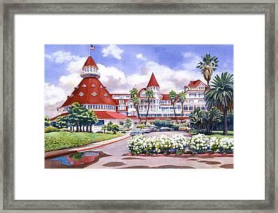 Hotel Del Coronado After Rain Framed Print by Mary Helmreich