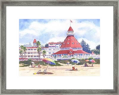 Hotel Del Coronado Beach Framed Print by Mary Helmreich
