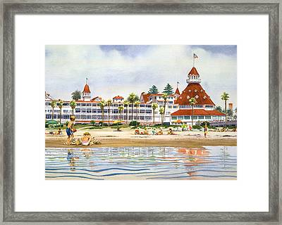 Hotel Del Coronado From Ocean Framed Print by Mary Helmreich