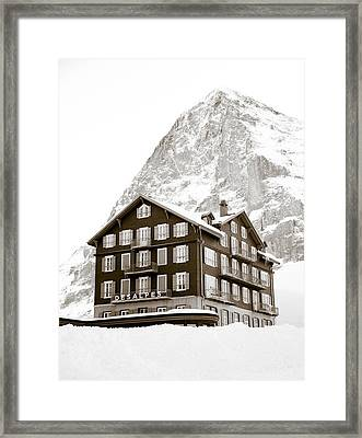 Hotel Des Alpes And Eiger North Face Framed Print by Frank Tschakert