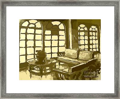 Hotel Lobby In Yellow Framed Print by John Malone