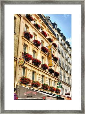 Hotel On Rue Cler Framed Print by Mel Steinhauer