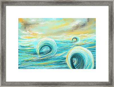 Hour Of Glow - Sunset On Water Painting Framed Print by Lourry Legarde