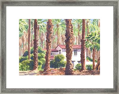 House Among Date Palms In Indio Framed Print by Mary Helmreich