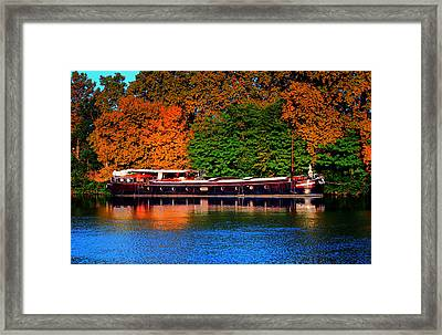 House Boat River Barge In France Framed Print by Tom Prendergast