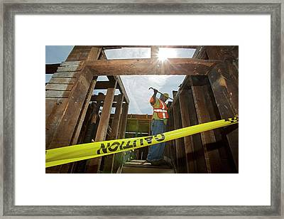 House Deconstruction And Recycling Framed Print by Jim West