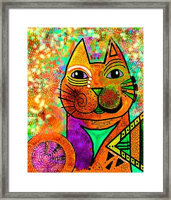 House Of Cats Series - Blinks Framed Print by Moon Stumpp
