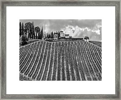 House On A Hill-tuscany-bw Framed Print by Jennie Breeze