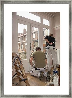 House Painters At Work Framed Print by Patricia Hofmeester