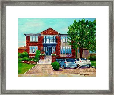 House Portrait-house  Art-commissioned  Montreal Paintings-carole Spandau Framed Print by Carole Spandau