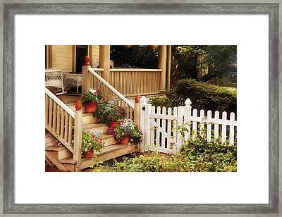 House - Rutherford Nj - My Grandmother's Garden  Framed Print by Mike Savad
