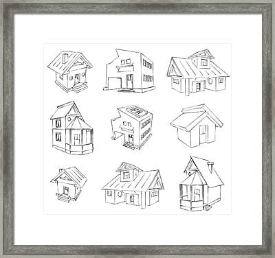House Sketch Set Framed Print by Ioan Panaite