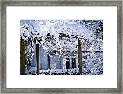 House Under Snow Framed Print by Elena Elisseeva