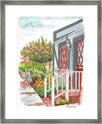 House With A White Handrail In Laguna Beach - California Framed Print by Carlos G Groppa