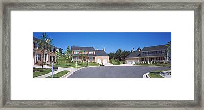 Houses Along A Road, Seaberry Framed Print by Panoramic Images