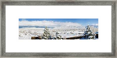 Houses And Trees Covered With Snow Framed Print by Panoramic Images
