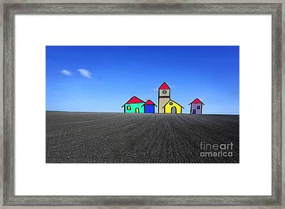 Houses. Field Concept Framed Print by Bernard Jaubert