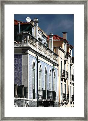 Houses In Alfama Framed Print by John Rizzuto