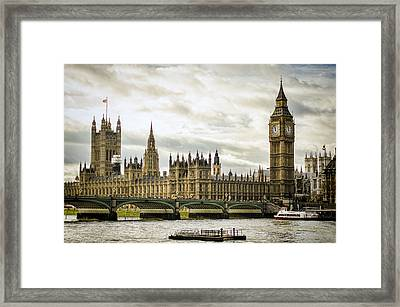 Houses Of Parliament On The Thames Framed Print by Heather Applegate
