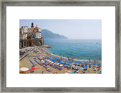 Houses On The Sea Coast, Amalfi Coast Framed Print by Panoramic Images