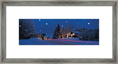 Houses Snowfall Nh Usa Framed Print by Panoramic Images