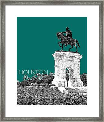Houston Sam Houston Monument - Sea Green Framed Print by DB Artist