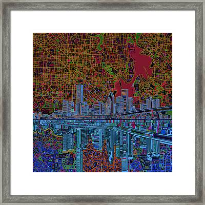 Houston Skyline Abstract 3 Framed Print by Bekim Art