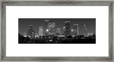 Houston Skyline At Night Black And White Bw Framed Print by Jon Holiday