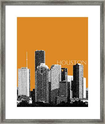 Houston Skyline - Dark Orange Framed Print by DB Artist