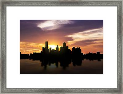 Houston Sunset Skyline  Framed Print by Aged Pixel