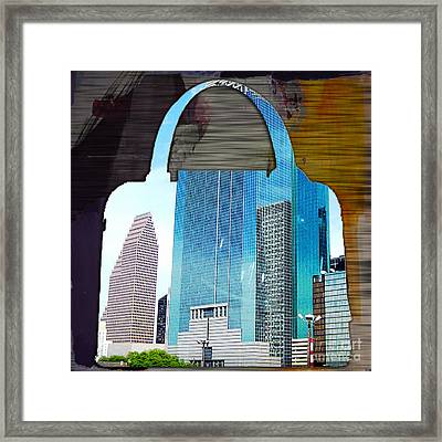 Houston Texas Skyline In A Purse Framed Print by Marvin Blaine