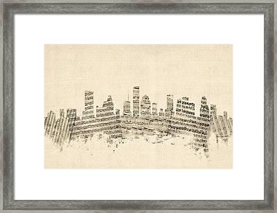 Houston Texas Skyline Sheet Music Cityscape Framed Print by Michael Tompsett