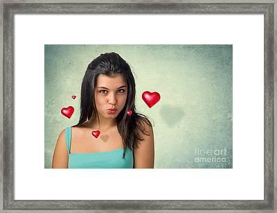 Hovering Hearts Framed Print by Carlos Caetano