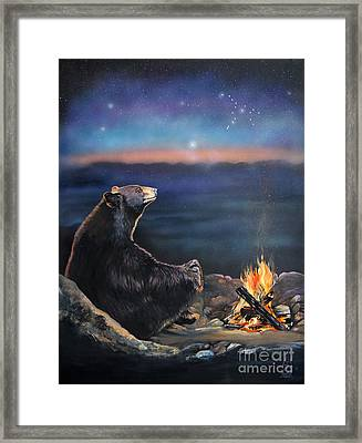 How Grandfather Bear Created The Stars Framed Print by J W Baker