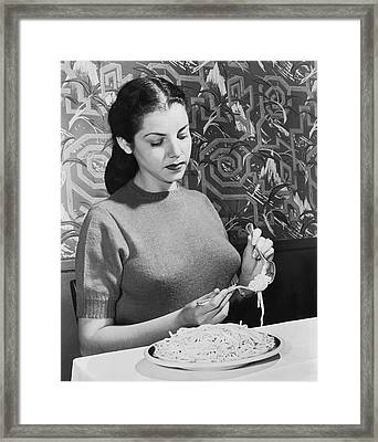 How To Eat Pasta Framed Print by Underwood Archives