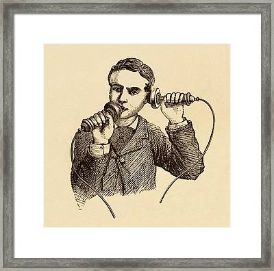 How To Use A Telephone Illustration. Framed Print by David Parker